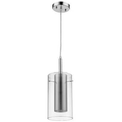 Chrome Clear Glass Cylinder Pendant Lamp Light