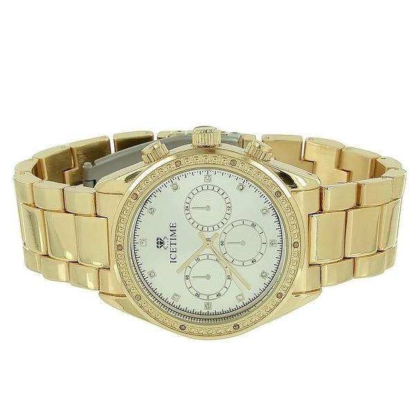 Ice Time Watch Mens Analog Chronograph Display Gold Finish Classy Look 0.10 CT Real Diamonds
