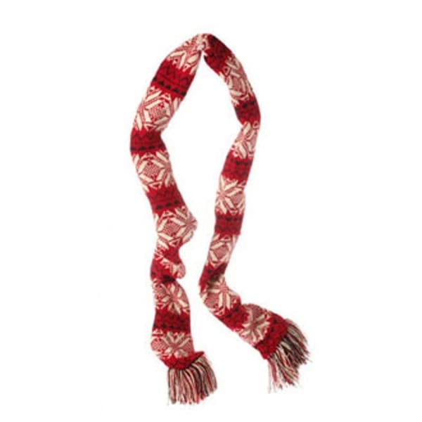 """59"""" Alpine Chic Red, Black and Cream Snowflake Knit Nordic Design Christmas Scarf Ornament"""