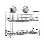 Kitchen/Bathroom Stainless Steel Turn Lock Vacuum Suction 2-Tier Storage Basket Caddy