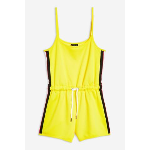 TOPSHOP Women's Romper Black Yellow 10 Striped Drawstring Sleeveless