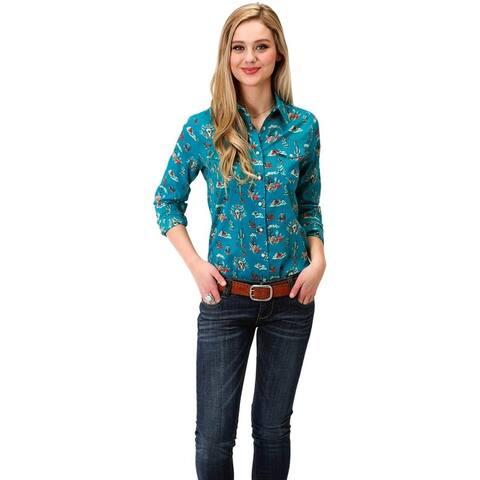 Roper Western Shirt Womens L/S Snap Cactus Blue