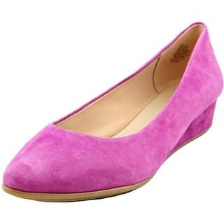 Easy Spirit e360 Avery Women W Open Toe Suede Purple Wedge Heel