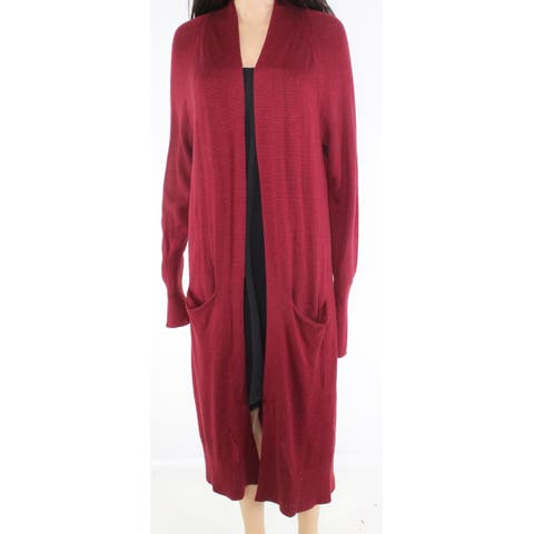 Leith Women's Slit Pocket Red Size Small S Cardigan Open-Front Sweater