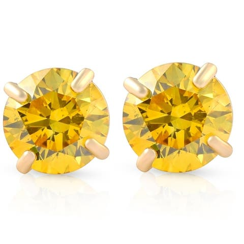1/2ct Fancy Yellow Diamond Studs 14K Yellow Gold Screw Back Lab Grown Earrings