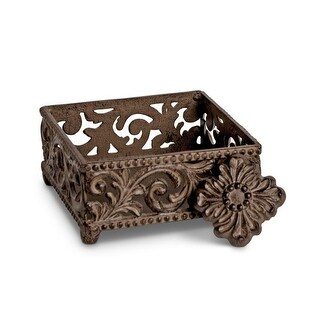 "5.75"" Rustic Brown Acanthus Leaf Design Square Cocktail Napkin Holder"