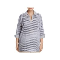 Foxcroft Womens Plus Tunic Top Woven Printed