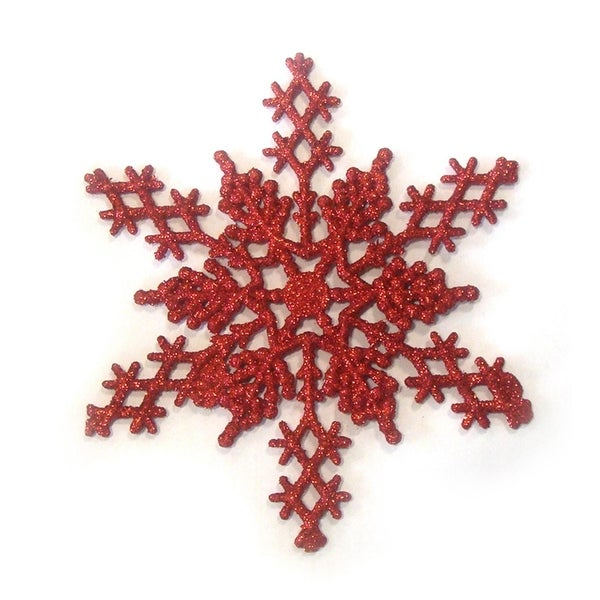 """Club Pack of 12 Red Hot Glitter Snowflake Christmas Ornaments 6.25"""""""