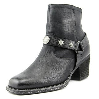 OTBT Dugas Women Round Toe Leather Black Ankle Boot