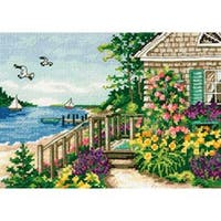 """Gold Petite Bayside Cottage Counted Cross Stitch Kit-7""""X5"""" 18 Count"""