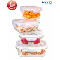 Lock & Lock 8 Piece Euro Borosilicate Spill-proof Glass Food Storage Containers Gift Set