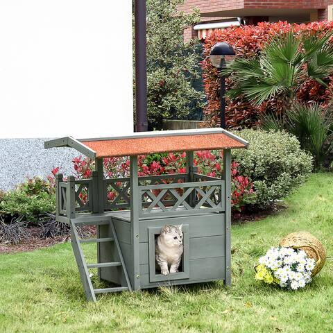 PawHut 2-Story Wooden Cat House Shelter with Balcony, Stairways & Waterproof Roof