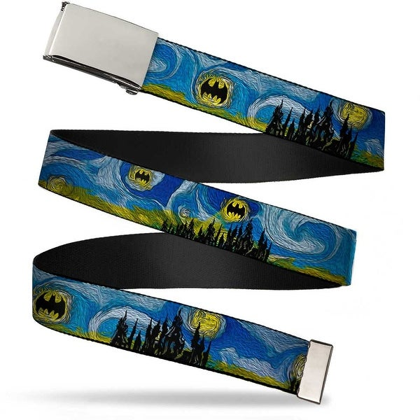 Blank Chrome Buckle Batman Dark Starry Night Webbing Web Belt