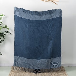 Link to Glitzhome Waffle Tassel Trim Indigo Acrylic Woven Throw Similar Items in Blankets & Throws