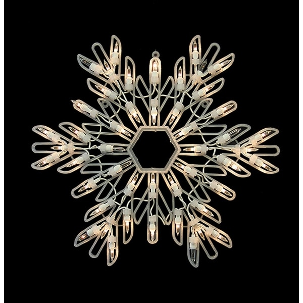 "15"" Clear Lighted Snowflake Christmas Window Silhouette Decoration"