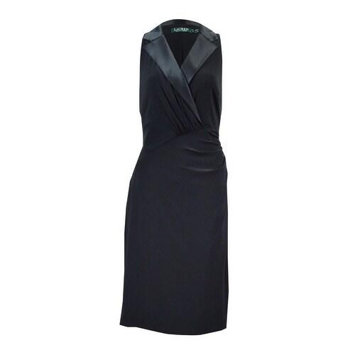 9a7f44f3110 Shop Lauren Ralph Lauren Women s Silk Lapel Jersey Dress - Black - On Sale  - Free Shipping Today - Overstock - 18312317