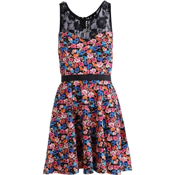 Material Girl Womens Juniors Party Dress Floral Print Lace