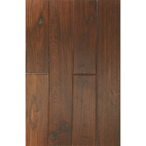 East West Furniture SP-5HH01 Hardwood Flooring - Interlock Engineered Wood Floor Tiles for Indoor, Chestnut Finish,