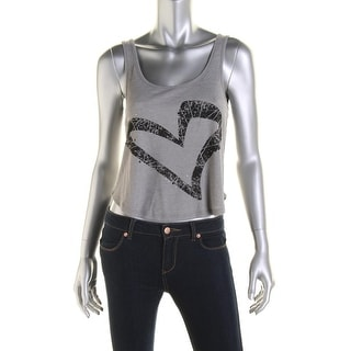 Jenni by Jennifer Moore Womens Juniors Crop Top Ribbed Knit Embellished
