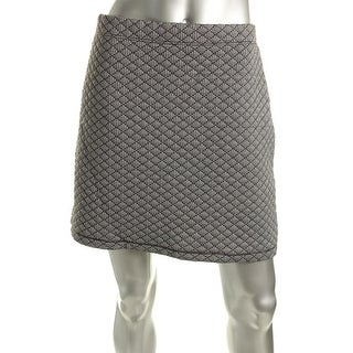 Studio M Womens Josette Houndstooth Quilted A-Line Skirt - L