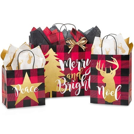 Pack Of 125, Assortment Buffalo Plaid Christmas Paper Shopping Bags 50 Junior, 50 Cub, 25 Vogue Made In Usa