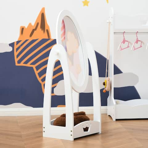 HOMCOM Full Length Mirror for Children, Adjustable to be Viewed From Multiple Angles Dress-up and Make-up, White
