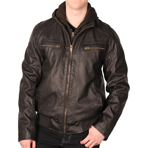 Sean John Men's Faux Leather Bomber Jacket