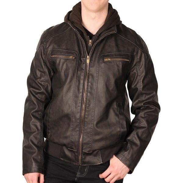 Sean John Mens Faux Leather Bomber Jacket