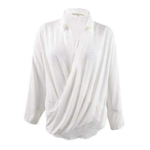 Rachel Rachel Roy Women's Plus Size Sandra Faux-Wrap Top (24W, Ivory) - Ivory - 24W