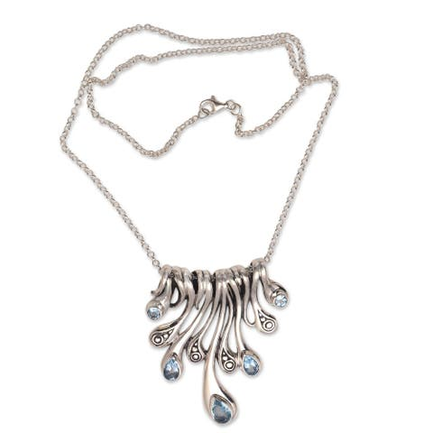 NOVICA Angels Tears, Blue topaz pendant necklace