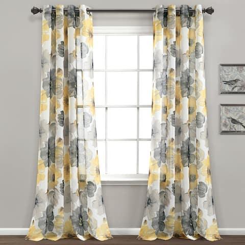 "Lush Decor Leah Sheer Window Curtain Panel Pair - 84"" x 52"""