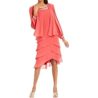 SL Fashions Womens Dress With Jacket Chiffon Tiered