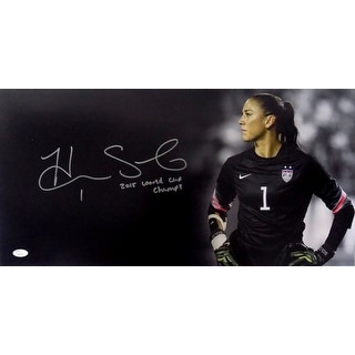Hope Solo Signed Team USA Olympics 24x12 Panoramic Photo 2015 WC Champs Insc JSA