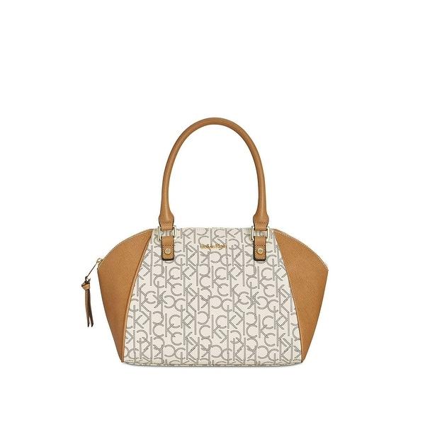 bfc9ed7e60 Shop Calvin Klein Signature Hudson Satchel Almond Combo - One Size ...