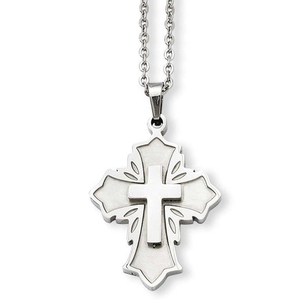 Stainless Steel Brushed & Polished Fancy Cross Pendant 20in Necklace (1 mm) - 20 in