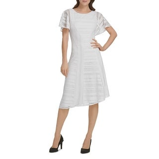 Link to Donna Karan Womens Party Dress Lace Flutter Sleeve - Ivory Similar Items in Dresses