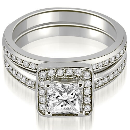 1.25 cttw. 14K White Gold Halo Princess and Round Cut Diamond Matching Set