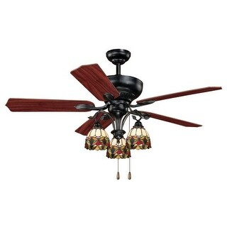 """Vaxcel Lighting F0006 French Country 52"""" 5 Blade Indoor Ceiling Fan - Light Kit and Fan Blades Included"""