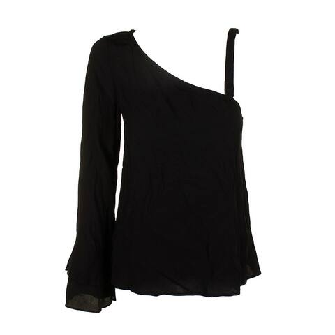 Sanctuary Black Tiered Long-Sleeve One-Shoulder Blouse L