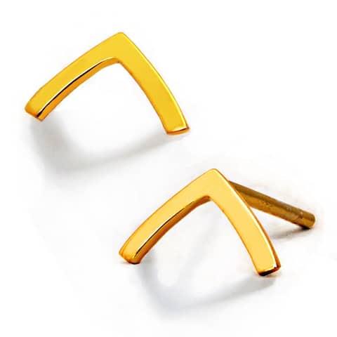TRILL 2 Way Convertible 18K Gold Vermeil Wish Bone Stud Earrings