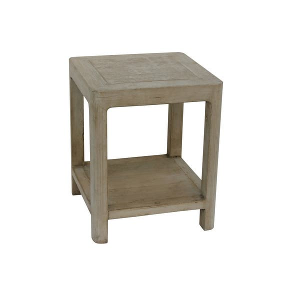 Shop Large Side Table w/Round Legs, 24 Inch Tall, Antique Off