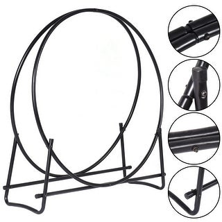 Costway 40-Inch Tubular Steel Log Hoop Firewood Storage Rack Holder Round Display