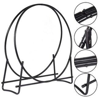 Costway 40-Inch Tubular Steel Log Hoop Firewood Storage Rack Holder Round Display - Black