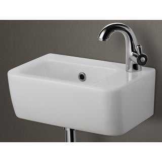 """ALFI brand AB101 10"""" Porcelain Wall Mount Bathroom Sink with Single Hole Drilled - White"""