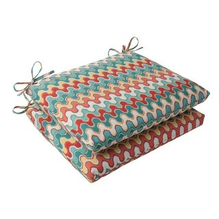 """Set of 2 Moroccan Red & Turquoise Outdoor Patio Square Chair Cushions 18.5"""""""