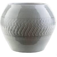 "13.4"" Textured Fiesta Medium Gray Indoor/Outdoor Decorative Ceramic Planter"