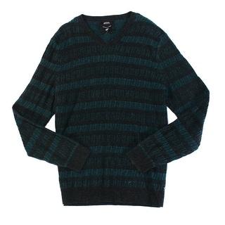 Alfani NEW Black Green Mens Size Medium M V-Neck Wool Striped Sweater