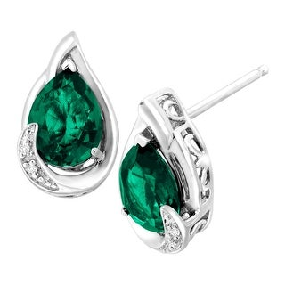 2 ct Created Emerald Stud Earrings with Diamonds in Sterling Silver - Green