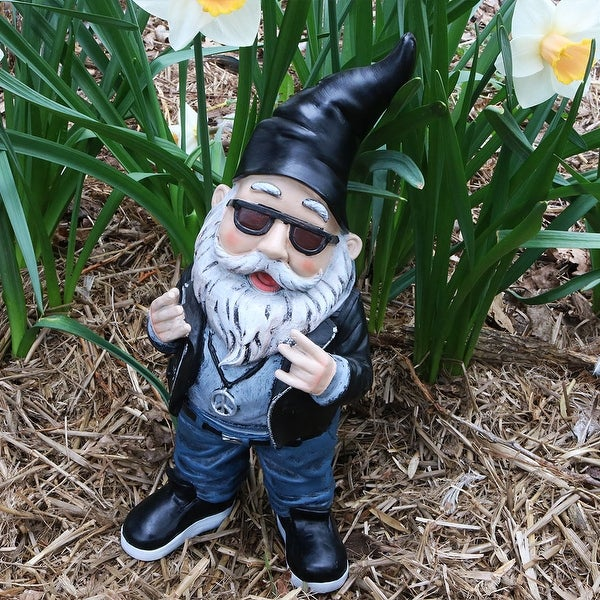 Sunnydaze Randy The Rebel Biker Garden Gnome 14 Inch Tall