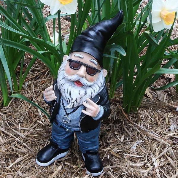 Sunnydaze Randy The Rebel Biker Gnome Garden Statue And Lawn Ornament    14 Inch